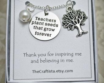 Teacher Necklace -- Teacher Theme Necklace -- T06 -- Teacher's Gift -- Teacher Appreciation Gift -- Teacher Charm --  Christmas Gift