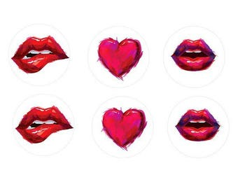 12mm, 6 cute mouth and heart cabochons