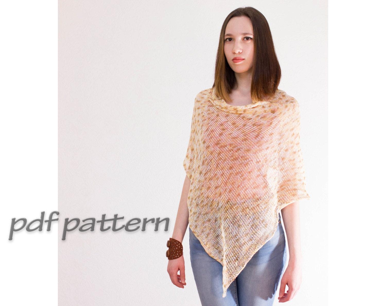 PATTERN boho poncho by ToBeStudio Cotton poncho Knitted