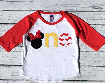 Mouse Birthday. Minnie Mouse. One. Disney.First Birthday.Girl.Shirt.Photo Prop. Birthday Shirt.Ready To Ship.NEW DESIGN