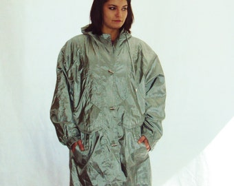 sage Green PARKA/ metallic green anorak /  s - l