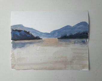 Acrylic landscape, acrylic on paper, original landscape painting, purple landscape, original acrylic painting, cloud painting, painting