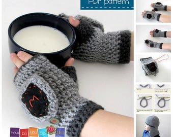 Fingerless Knight Gloves  for boy Knight Mittens with flap Crochet Pattern Instant Download Beginner Crochet Photo Tutorial Knight costume