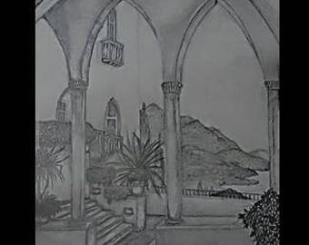 "original artwork, OOAK, graphite ""Palazzo"""