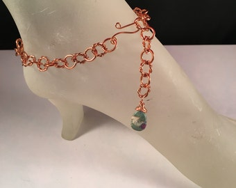 Natural Copper Ankle Bracelet with Wire Wrapped Ruby Fuchsite Bead Charm 11 Inches Long with Your Choice of Clasp