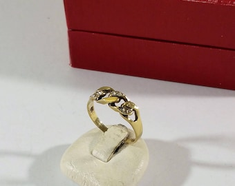Ring Gold 333 Braided knotted Moissanite vintage Noble GR381