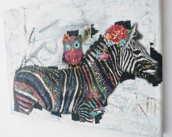 Original canvas wall art zebra & owl decoupage art funky design
