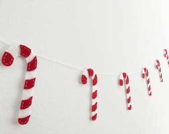 Candy cane felt garland Christmas decor White & Red decorations Xmas festive season cute Tree ornament Home decor Photo prop baby kids