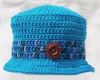 Hand crocheted baby blue cotton sun hat, newborn 0-3 3-6 6-9 6-12 9-12 months, crochet brimmed summer knitted bucket hat with brim