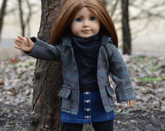 Plaid Coat, Denim Button Front Skirt, Cowl Neck Top, and Leggings for 18 Inch Dolls