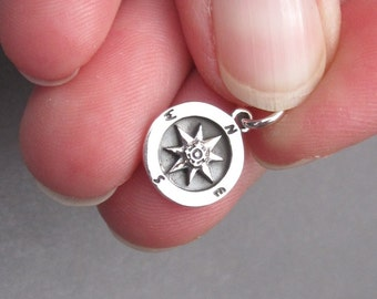 Sterling Silver Compass Charm, Sterling Silver Compass Pendant, Bracelet Charm, Nautical Charm, Necklace Pendant with Jump Ring