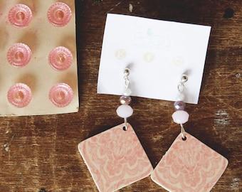 pendants earrings, polyshrink earrings, beads earrings, shrink plastic earrings, double faces earrings, pink earrings, handmade earring