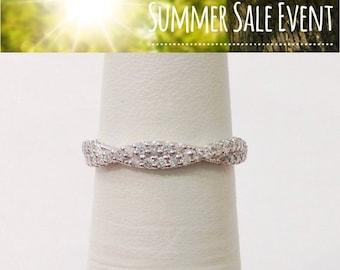 Love Twisted Diamond Wedding Band - Infinity Ring 14K White Gold