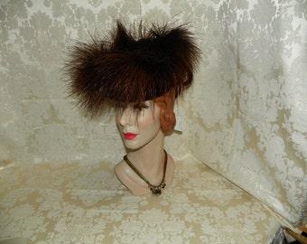 1940's Brown Velvet Hat  Item #265-AH