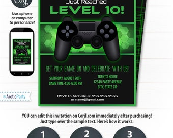 Video Game Party Invitations, Video Game Invitation, Video Game Birthday, Gaming Party Invitation, Game Party - INSTANT ACCESS - Corjl!