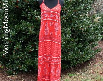 VINTAGE BOHO MAXI, long hippie dress, Boho sundress, spaghetti straps, bright red India print floral tribal, soft & flowy, festival dress