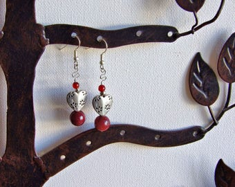 Red & hearts earrings