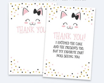 Kitten Thank You Cards, Kitty Cat Birthday Party, Kitty Thank You Notes, Printable Thank You Cards, Black pink and gold, INSTANT DOWNLOAD