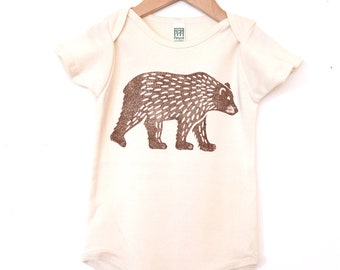 Grizzly Bear Block Printed Baby Onesie Bodysuit Natural Organic Cotton