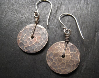 Tiny Brass Disk Earrings