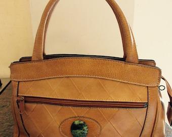 LOVELY Vintage 1960's Tan PVC Handbag With Gemstone Detail - Nice!!