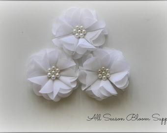 Set of 2 Chiffon Flowers, Beaded Flower, White Chiffon Flower, Tutu Flowers, Ballerina Flower