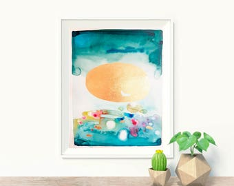Original watercolor painting, green and gold abstract landscape, abstract original painting, colorful modern art, watercolor painting