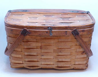 Antique Picnic Basket - Vintage Picnic Basket - Antique Basket - West Rindge Baskets - Woven Basket - Farmhouse Basket