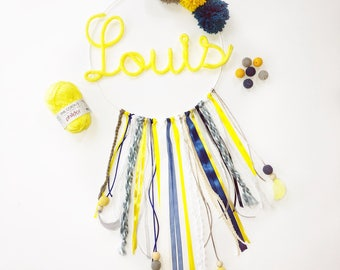 Dream catcher name knitting and customizable tassels / handmade