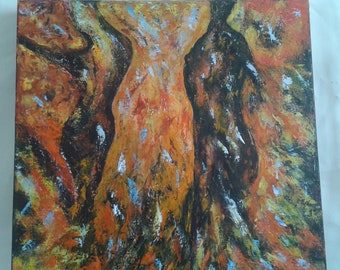 Bloodshed, acrylic painting on canvas, imaginary scene, forms, woman, man, sweet, subjective, figurative, original, contemporary art