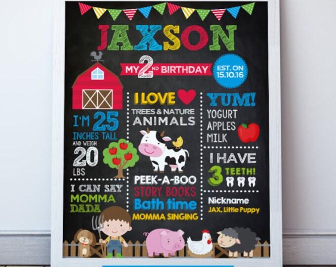 Farm Birthday Poster, Barnyard chalkboard stats poster, Barn Print, DIGITAL