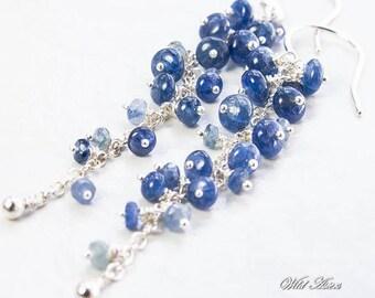 Blue Sapphire Earrings. September Birthstone. Cascading Cluster Earrings. Sterling Silver