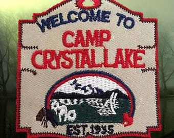 """Camp Crystal Lake Sign Friday 13th Horror Movie Jason Vorhees 3.25"""" Embroidered Patch NEW"""