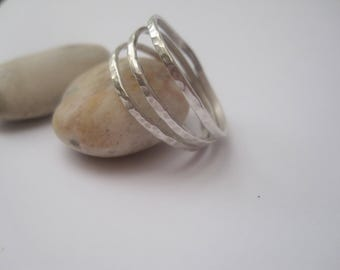 Triple Band Hammered Silver Ring, Silver Ring, Sterling Silver Ring, Stacking Ring