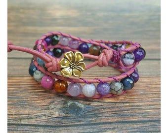 Wrap Bracelet - Gemstone Bracelet - Agate Bracelet - Gemstone Wrap Bracelet - Leather Bracelet - Boho Jewelry - Gift for Her - Bohemian Wrap