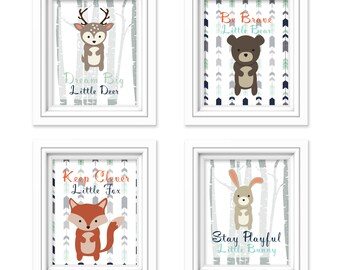 Woodland Nursery Wall Art Printables - Bear, Bunny, Fox, Deer - Animal Nursery Prints - Woodland Animals - Modern Nursery - 4pc 8x10