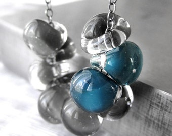 Storm Cloud Grey Glass Necklace, Asymmetrical Dark Aqua Accent, Peacock Teal, Charcoal Gray Oxidized Sterling Silver Chain, Modern Jewelry