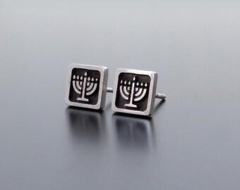 Silver Menorah Earrings, Jewish Jewelry, Judaic Jewelry, Menorah Studs, Israel Jewelry Silver, Hanukkah Earrings, Square earring posts