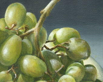 Green Grape Painting, Original Acrylic Painting, Still Life of Green Grapes, Kitchen Art Home Decor