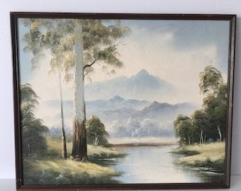 Vintage oil painting of Australian Nature Eucalyptus trees and river 1980's