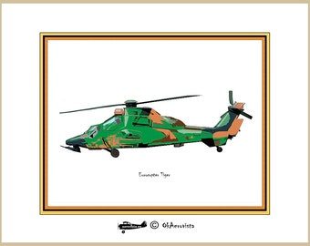 Eurocopter Tiger, helicopter downloadable poster, aviation military theme, bedroom wall decor, 14x11 size 20x16, large wall art, military