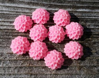 10mm Pink Dahlia Resin Cabochon