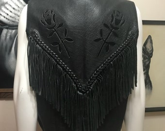 Vintage MOD Leather Black Rose Tassel Vest - Black Rose Leather Vest