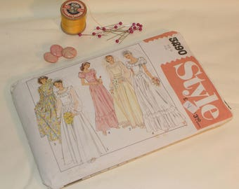 Vintage 1980s Wedding Bridesmaid Dress Sewing Pattern Style 3290 Size 14