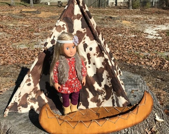 Bovine Print Faux Suede Doll Tepee