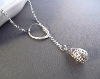 Teardrop Necklace, Lariat Necklace, Silver Bubble Necklace, Water Droplet, Geometric Necklace, Teardrop Lariat, Modern Jewelry, Dewdrop