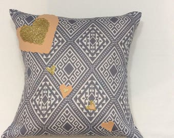 "Decorative pillow cover / 40x40 cm ( 16""x16"")/ glitter hearts / home decoration"