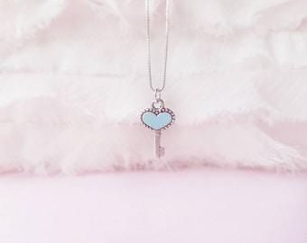 Tiny Heart Key Necklace - Key to my Heart Necklace - Key Pendant Necklace - Little Key Necklace - Key Charm Necklace - Bridesmaid Gift Ideas