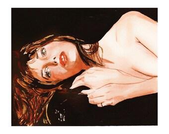 Jane Birkin ART Open Art PRINT By Elizabeth Yoo | The Actresses of Classic Film