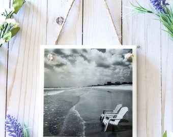 Beach bathroom decor, tile wall hanging, ceramic wall signs for home, beach photography art, ceramic tile wall art, black and white art tile